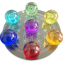 55mm 7 Chakra Flower Of Life Set Gazing Balls