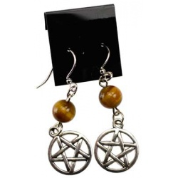Tiger\'s Eye Pentagram Earrings