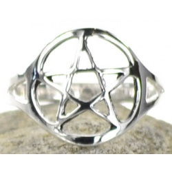 Silver Plated Brass Pentagram Ring Size 10