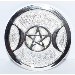 Silver Plated Brass Triple Moon Altar Tile 3 1/2\