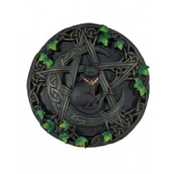 Cat And Pentagram Wall Plaque 7 1/2\