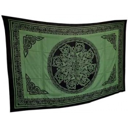 Ancient Celtic Knot Tapestry Green & Black 72\