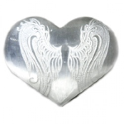 "3"" Selenite heart, Angel Wings"