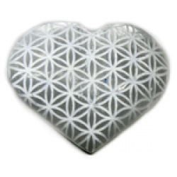 "3"" Selenite heart, Flower of Life"